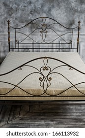 back double bed forged of rod,  close up, vertical photo