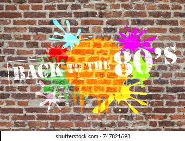 back to the eighties grunge background on brick wall