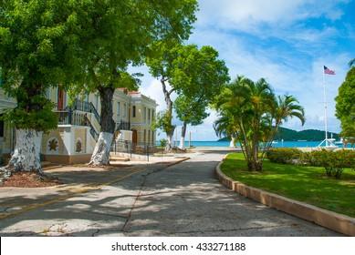 Back entrance to the legislature building in Charlotte Amalie, St. Thomas US Virgin Islands.