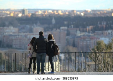 The back of family tourist  and enjoying view of madrid, Spain