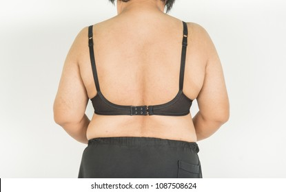 The back of the fat man is fat and black bra.