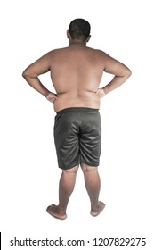 The back of the fat naked man.The back of a fat man on a white background.
