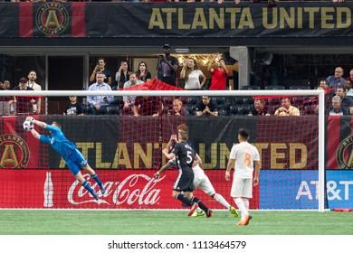 Back of the Goal Action shots - MLS Atlanta United host Sporting Kansas City on Wednesday, 9th 2018 at the Mercedes Benz Stadium, Atlanta Ga - USA MLS Game #102