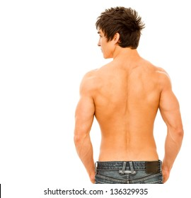 Back of handsome muscular man. Isolated on white.