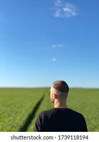 l'arrière de la tête d'un homme contre un champ vert