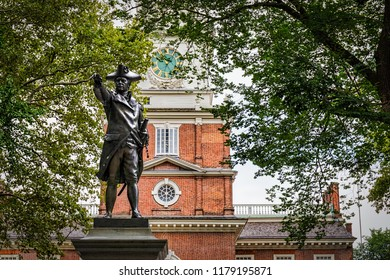 The back of Independence Hall in Philadelphia, PA on a cloudy summer day.