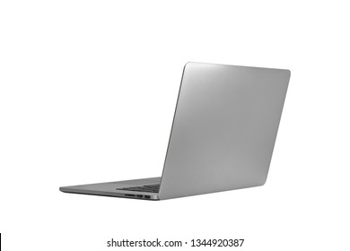 back laptop or notebook  isolated on white background with clipping path