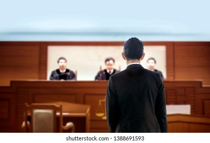 back of lawyer talking to attorney in courtroom . The legal adjustment trail justice concept. Lawyer is famous occupation of high performance in political judgment in human relation rule in seriously.