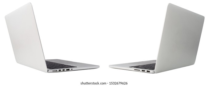 back left and right of laptop, notebook on isolated white background with clipping path.