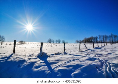 back light panoramic view of snow scape in winterberg, germany