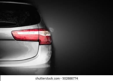 Back lights of grey car