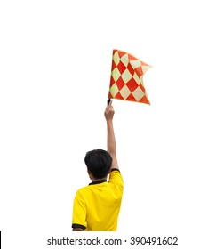 The back of the linesman flags to signal. Isolated white background