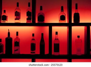 Back lit bottles in a cocktail bar