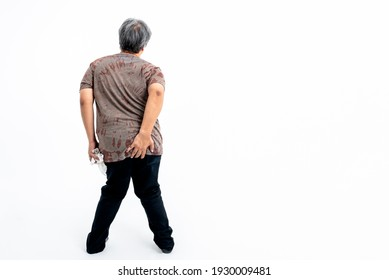 The back of a man Which uses left hand Hold ass area And hold a tissue Whit right hand, On white background, concept to people have diarrhea Want to go to bathroom for excretion