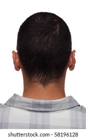 Back of man's head and neck, branded with engraved letters like on leather product, cloning concept