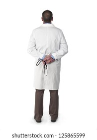 Back of a medical doctor isolated on white.