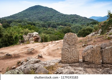 Back of Menhir statues in Filitosa, megalithic site in southern Corsica, France