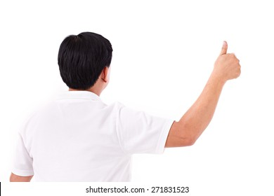 back of middle age man giving thumb up