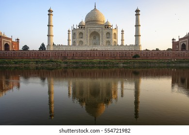 The back of the most famous Indian building with its reflection on a river