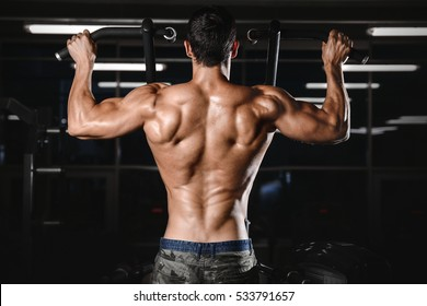 back muscle manâ??s back Male bodybuilder flexing his back fitness and bodybuilding