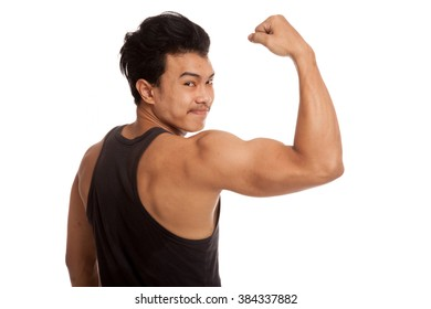 Back of muscular Asian man flexing biceps  isolated on white background