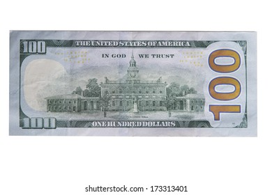 Back of new one hundred dollar bill isolated
