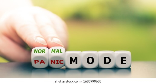 """Back to normal. Hand turns dice and changes the expression """"panic mode"""" to """"normal mode""""."""