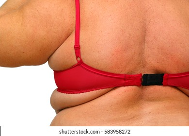 back of obese overweight women in underwear close-up