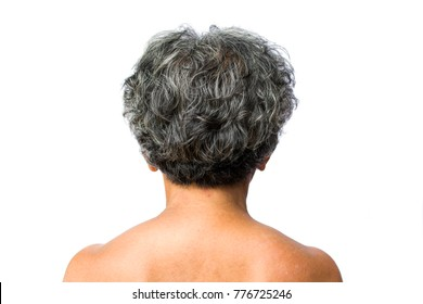 back old woman with gray hair on white background