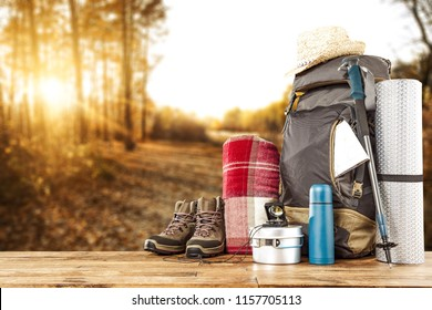 back pack and autumn trip