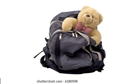 a back pack with a teddy bear - the luggage of a child with divorced parents