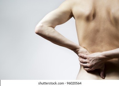 back pain on a grey background