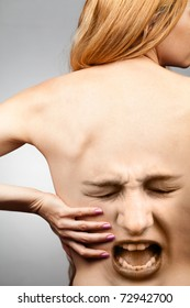 Back Pain Woman Suffering from Spine Injury
