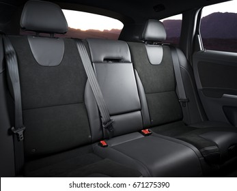Back passenger seats in modern luxury car with sunset in the windows