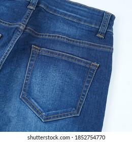 Back pocket blue denim detail