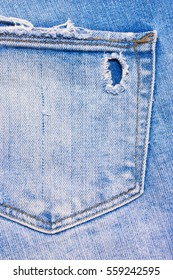 Back pocket of blue, ripped jeans, denim texture