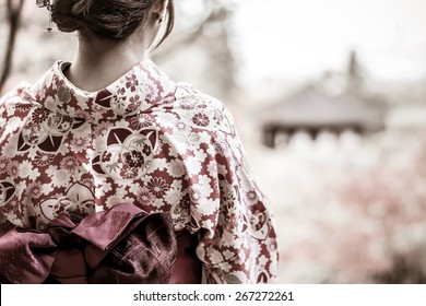 Back of a pretty Japanese girl in beautiful atmosphere in grunge style