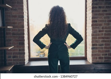 Back rear behind view photo of genius entrepreneur ready develop company look window put hand palms waist dressed modern blazers trousers in industrial