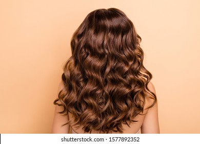 Back rear side photo of charming girl show perfect strong wellness hairstyle hairdo after hairdresser therapy coiffure have professional hair coloration isolated over pastel color background