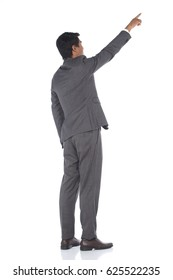 back rear side view finger hand point to sky, Full Length Snap Figure, Business Man Stand in dark Gray Suit pants and brown shoes, studio lighting white background isolated