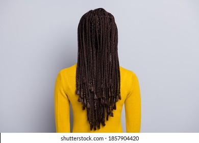 Back rear view photo of young african woman anonym salon haircare hairdo dreadlocks isolated over grey color background
