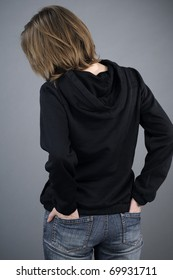 back of sad teenager