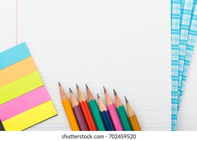 back to school, 1 september. stationery supplies on white background