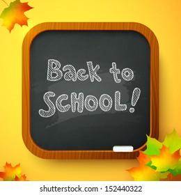 Back to school autumn black chalkboard, raster illustration