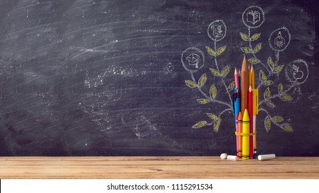Back to school background with education tree made from pencils