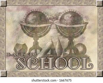 """Back to School"" background, retro style"
