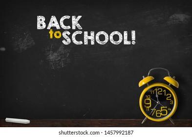 Back to school blackboard with clock, background