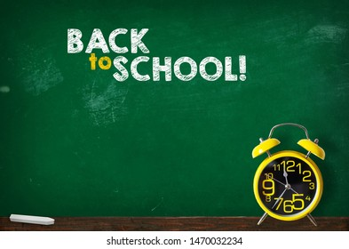 Back to school blackboard with clock, background