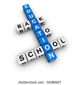 back to school  (blue-white cubes crossword series)