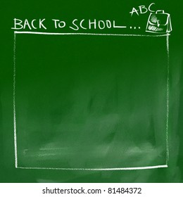back to school border - green chalkboard background (white chalk doodles & writing)